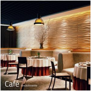 3D Wandpaneele - Einsatzbereich Gewerbe - Cafe - Deckenpaneele - 3D Tapeten