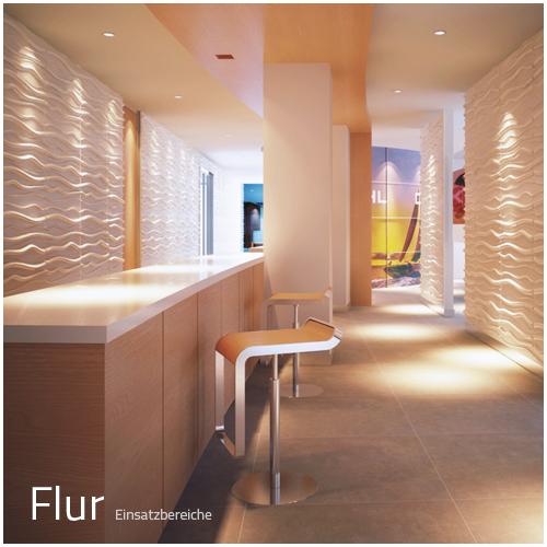 – Einsatzbereich Privat – Flur – Deckenpaneele – 3D Tapeten