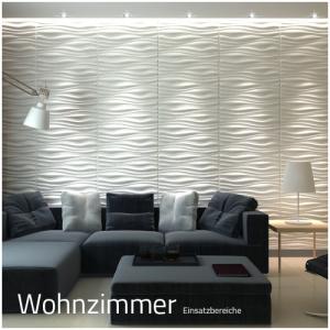 3D Wandpaneele - Einsatzbereich Privat - Wohnzimmer - Deckenpaneele - 3D Tapeten