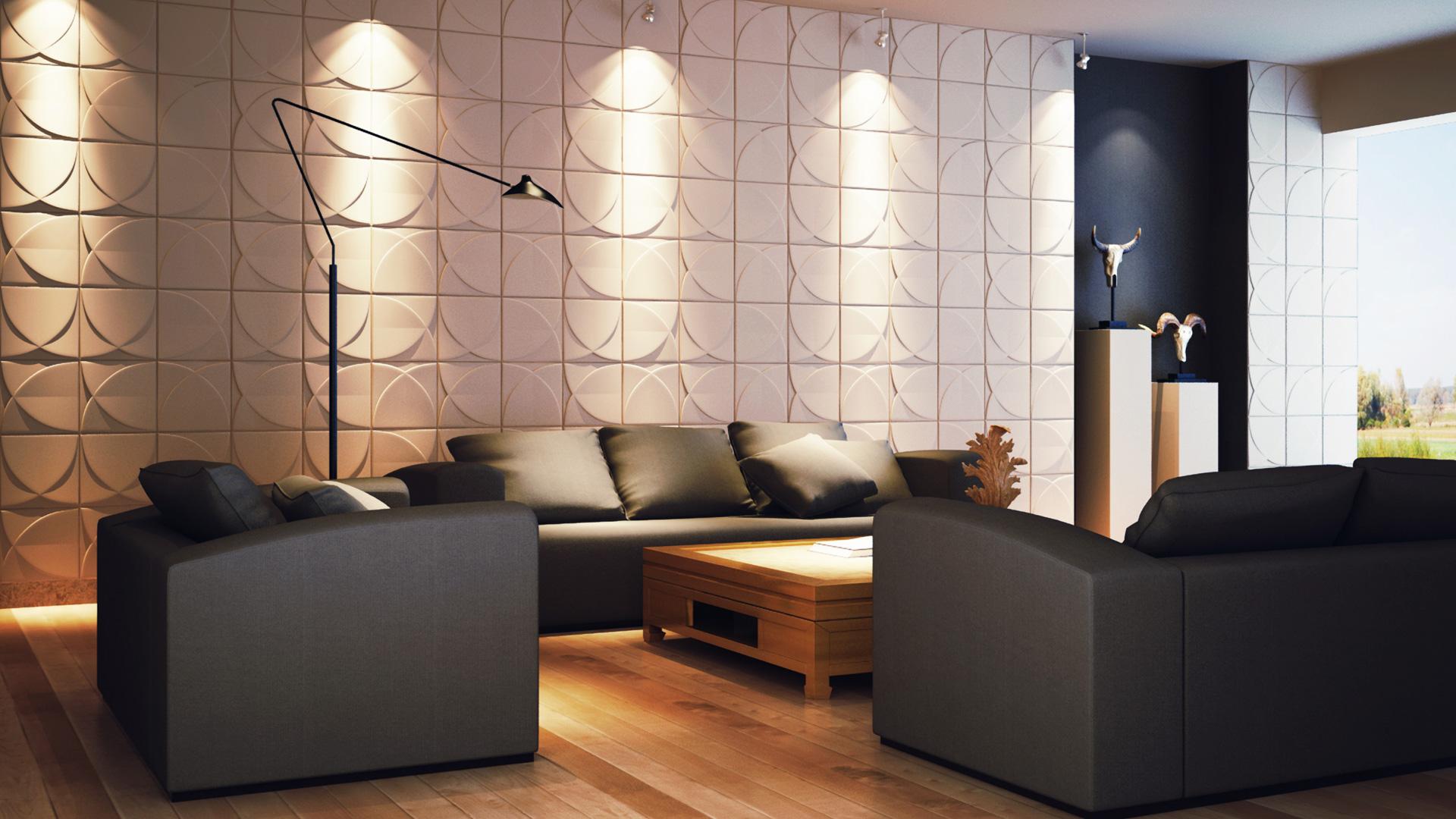 Wohnzimmer • 3D Wandpaneele | Deckenpaneele | Wandverkleidung aus ...