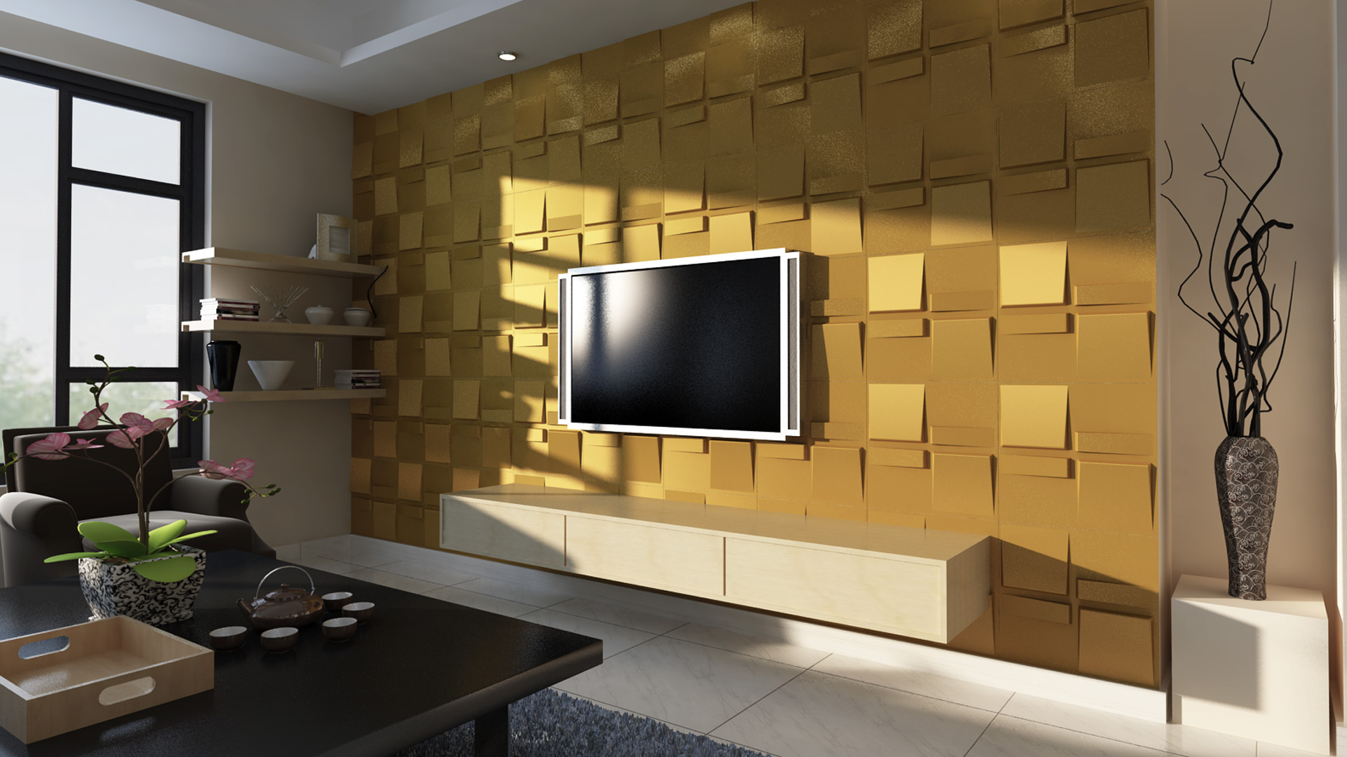Wandpaneele Wohnzimmer | Wohnzimmer 3d Wandpaneele Deckenpaneele Wandverkleidung Aus Bambus