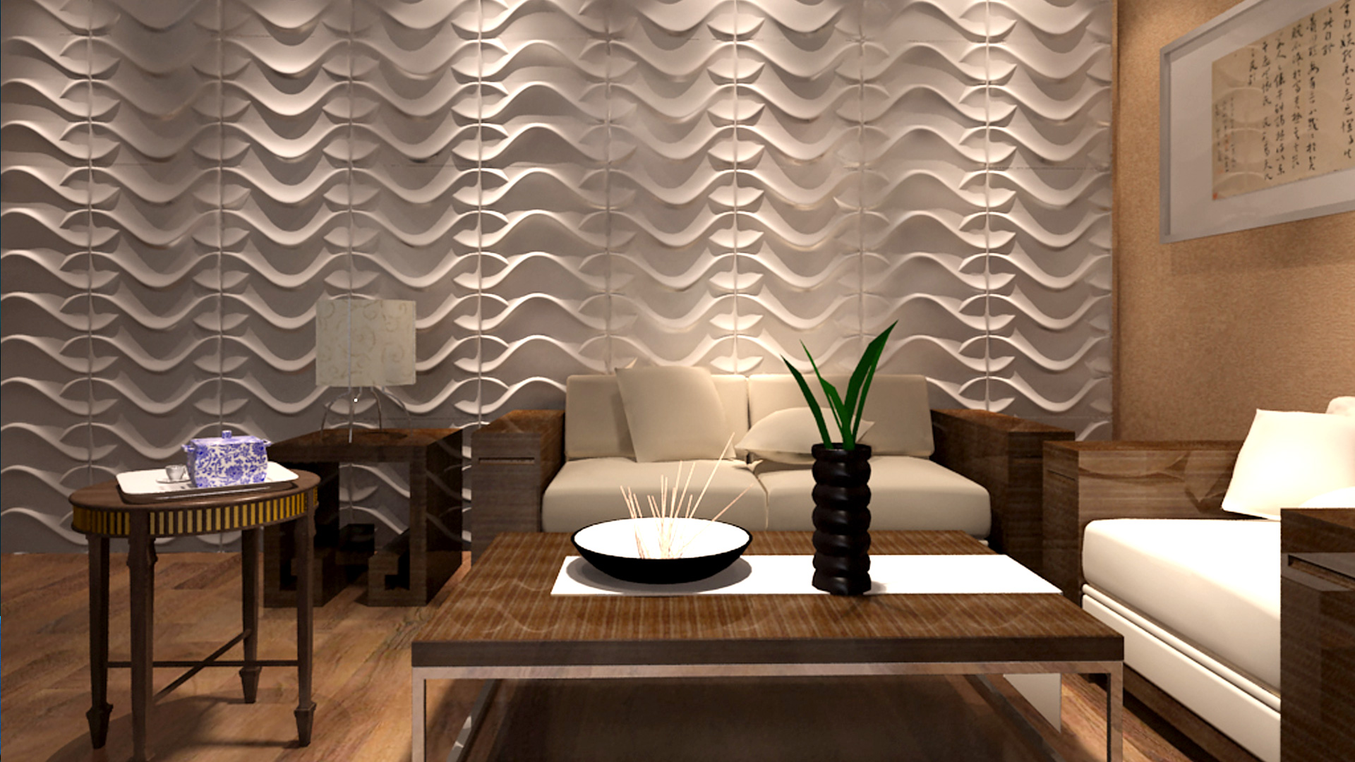 Wohnzimmer 3d wandpaneele deckenpaneele wandverkleidung aus bambus - 3d wandpaneele ...