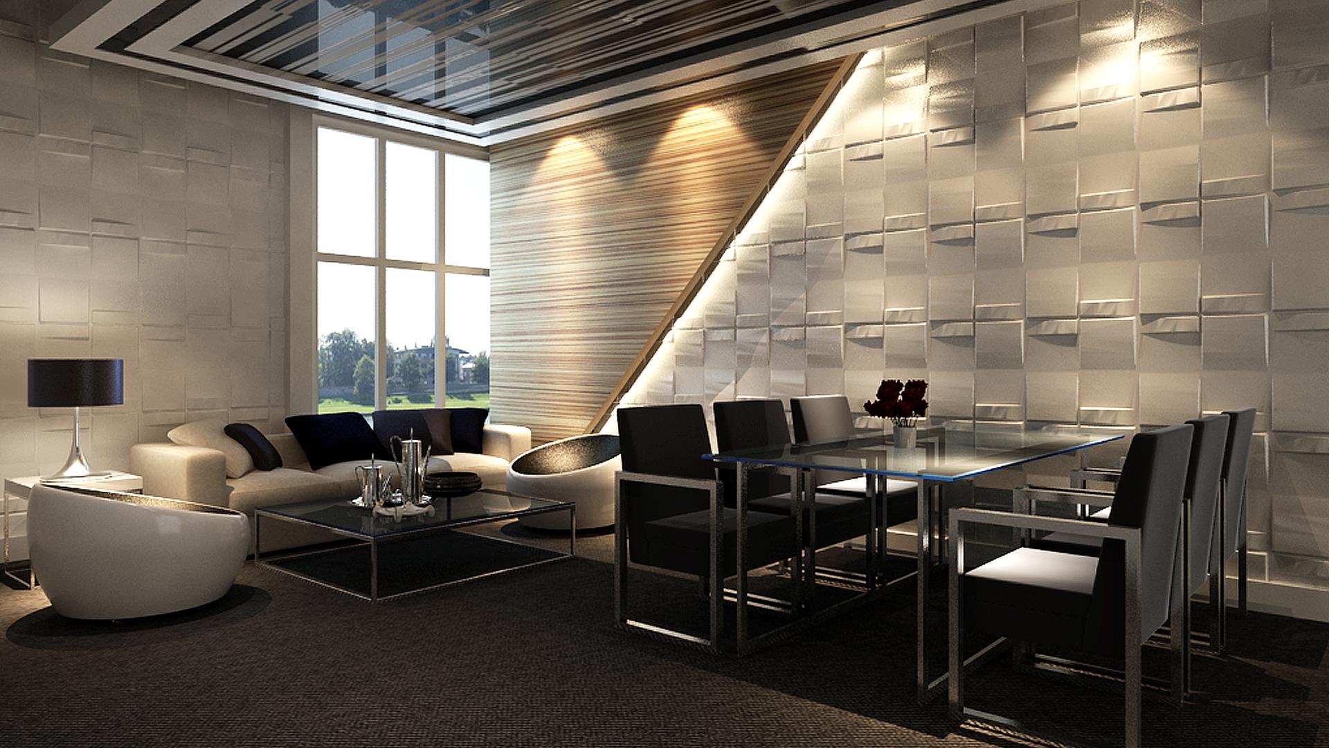 Wohnzimmer • 3D Wandpaneele | Deckenpaneele | Wandverkleidung aus Bambus
