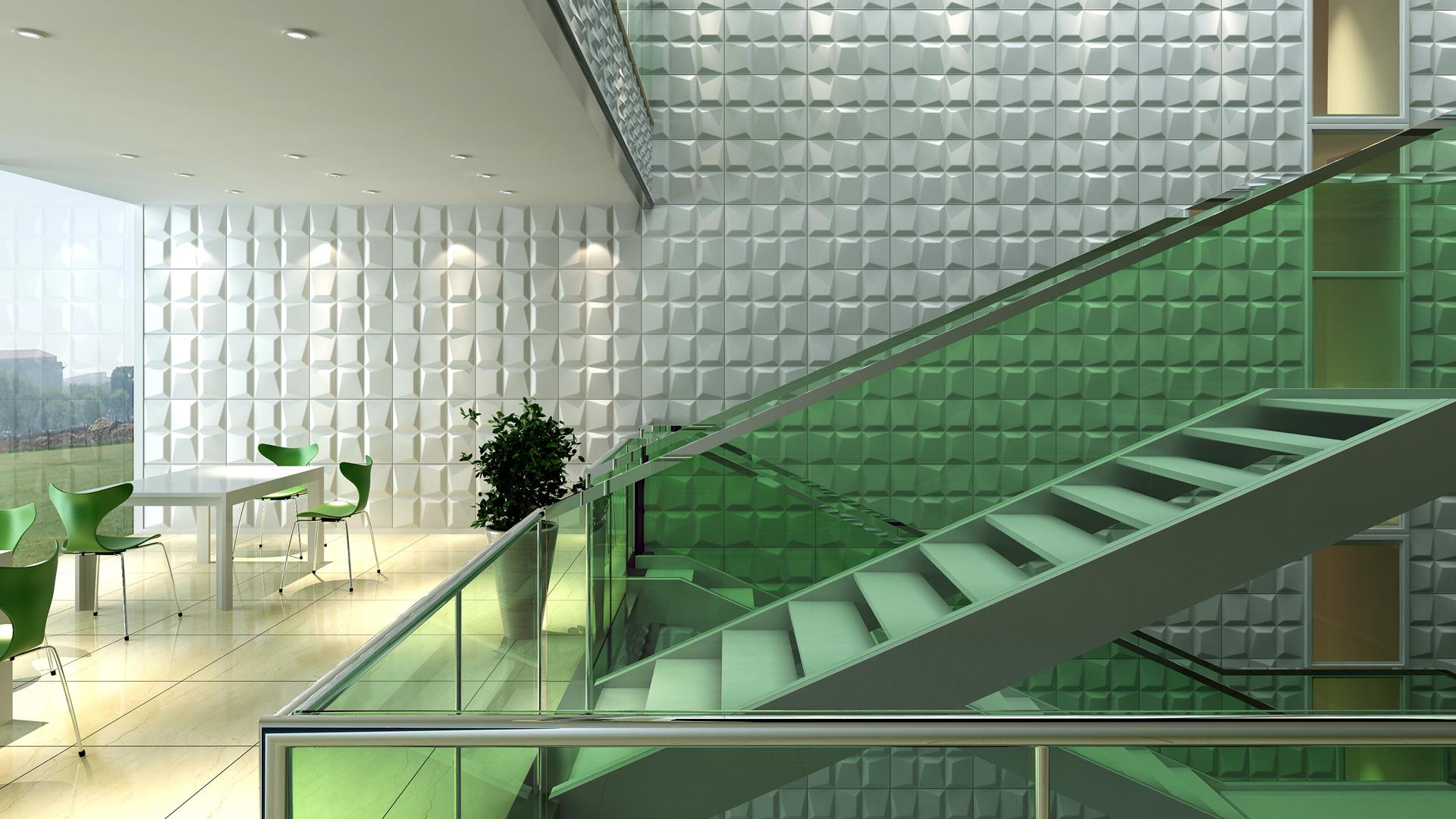 und Treppenhaus • 3D Wandpaneele  Deckenpaneele  Wandverkleidung ...