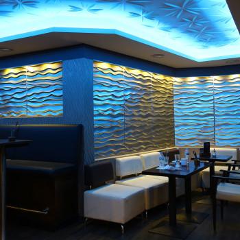 3D Wandpaneele - Referenzen - Panorama Club Düsseldorf - Deckenpaneele - 3D Tapeten - Wandverkleidung